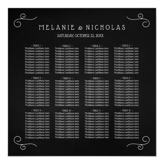 Simple Chalkboard wedding seating chart