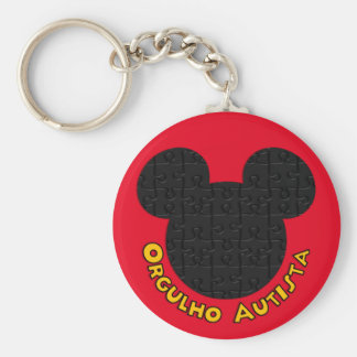 Simple Chaveiro Pride Autista Mickey Puzzle I Basic Round Button Key Ring