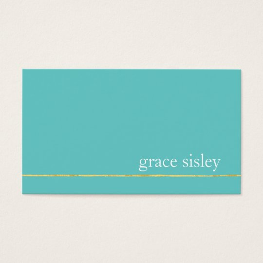 Simple Chic Gold Striped Modern Stylish Turquoise Business Card