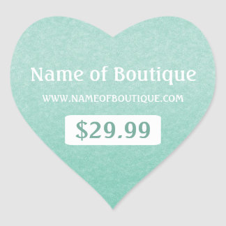 Simple Chic Mint Boutique Retail Sales Price Tags Heart Sticker