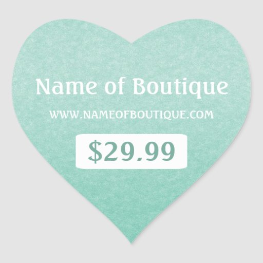 Simple Chic Mint Boutique Retail Sales Price Tags Heart Stickers