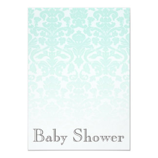 Simple Chic Mint Damask Baby Shower Invitation