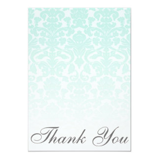 Simple Chic Mint Damask Thank You Card / Note 13 Cm X 18 Cm Invitation Card