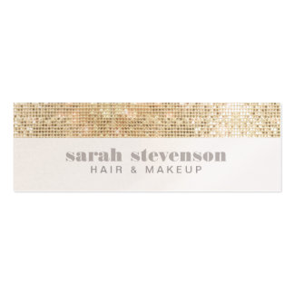 Simple, Chic & Modern Sparkly Gold FAUX Sequins Pack Of Skinny Business Cards