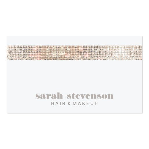 Simple, Chic & Modern Sparkly Silver FAUX Sequins Business Card