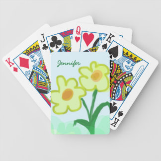 Simple Childish Flower Watercolor Painting Bicycle Playing Cards