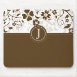Simple Chocolate Brown Monogrammed Mousepad