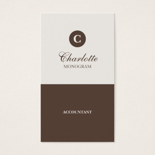 Simple Chocolate & Cream Monogram Business Cards