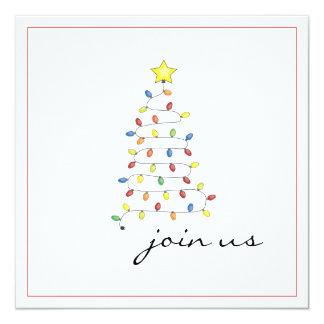 Simple Christmas Light Tree Party Invitation