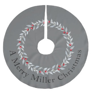 Simple Christmas Wreath Design Grey & Red Berries Brushed Polyester Tree Skirt