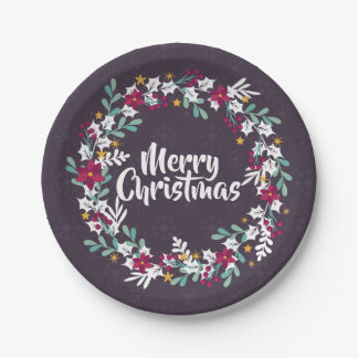 Simple Christmas Wreath Purple   Paper Plates