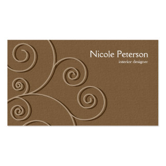 simple circular pattern - textured brown pack of standard business cards