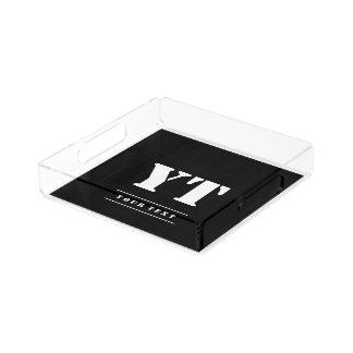 Simple Classic Black Monogram Acrylic Tray
