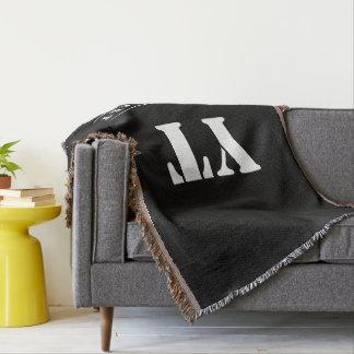 Simple Classic Black Monogram Throw Blanket