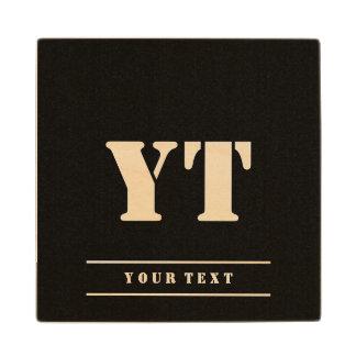 Simple Classic Black Monogram Wood Coaster
