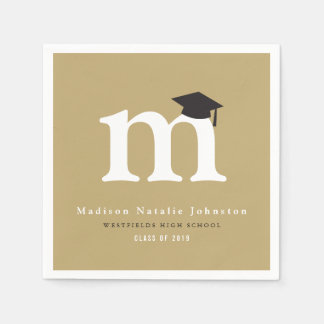 Simple Classic Monogram Graduation Paper Napkins