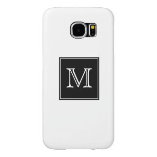 Simple Classy Black and White Monogram Samsung Galaxy S6 Cases