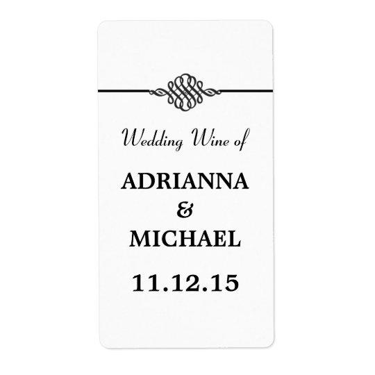 Simple Classy Black White Wedding Wine Shipping Label