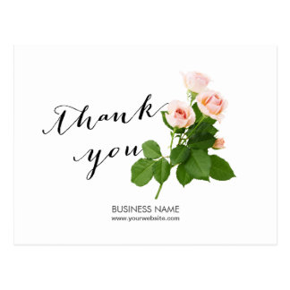 Simple Classy Floral Business Thank You Postcard