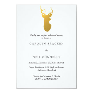 Simple Classy Gold Antler Modern Rehearsal Dinner Card