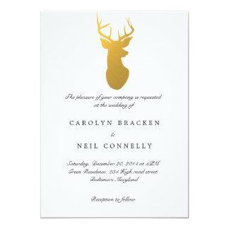 Simple Classy Gold Antler Modern Wedding Card