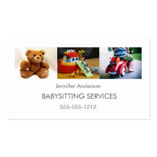 Simple Clean Babysitter Child Care Photo Collage Pack Of Standard Business Cards
