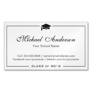 Simple Clean Black and White Graduation Name Card Magnetic Business Cards