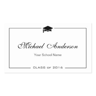 Simple Clean Black and White Graduation Name Card Pack Of Standard Business Cards
