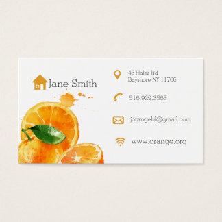 Simple clean orange fruit  business cards