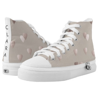 simple clear rose gold love hearts, neutral high tops
