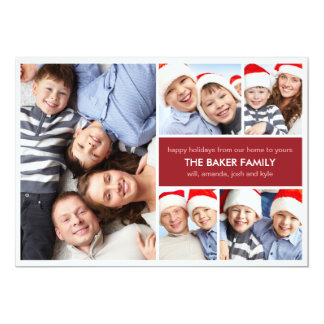 Simple Collage Holiday Photo Cards Personalized Invitations