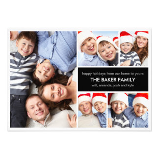 Simple Collage Holiday Photo Cards Custom Announcements