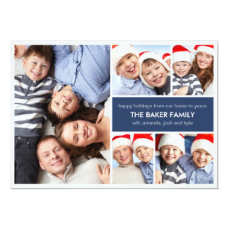 Simple Collage Holiday Photo Cards Personalized Invite