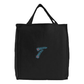 Simple Colorful Peacock Feathers Embroidered Bag