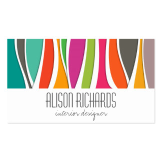Simple Colorful rainbow waves interior design Double-Sided Standard Business Cards (Pack Of 100)