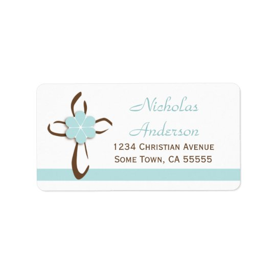 Simple Contemporary Cross with Blue Address Label2 Label