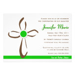 Simple Contemporary Cross with Green Custom Invites