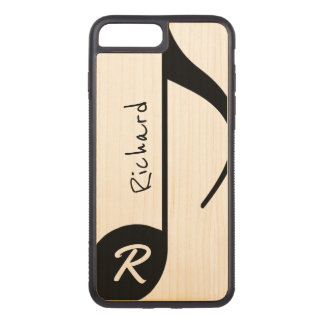 simple cool black musical note personalized carved iPhone 8 plus/7 plus case