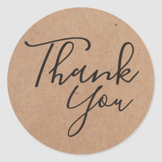 Simple Cool Black Printed Kraft Paper Thank you Classic Round Sticker