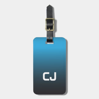 Simple Cool Blue Ombre Monogram Luggage Tag