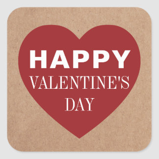 Simple Cool Kraft Red Heart White Valentine's Day Square Sticker