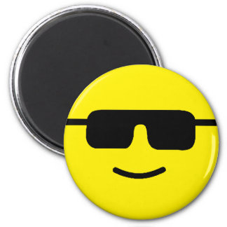Simple Cool Shades Yellow Face 6 Cm Round Magnet