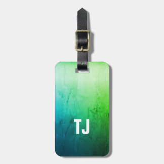Simple Cool Texture Green White Bold Monogram Luggage Tag