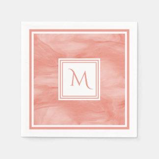 Simple Coral Pink Subtle Marble Modern Monogram Disposable Napkin