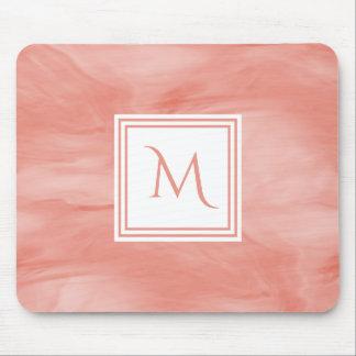 Simple Coral Pink Subtle Marble Modern Monogram Mouse Mat