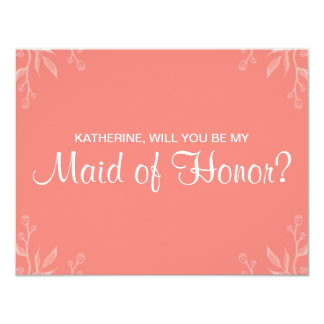 "Simple Coral ""will you be my maid of honor"" Card"