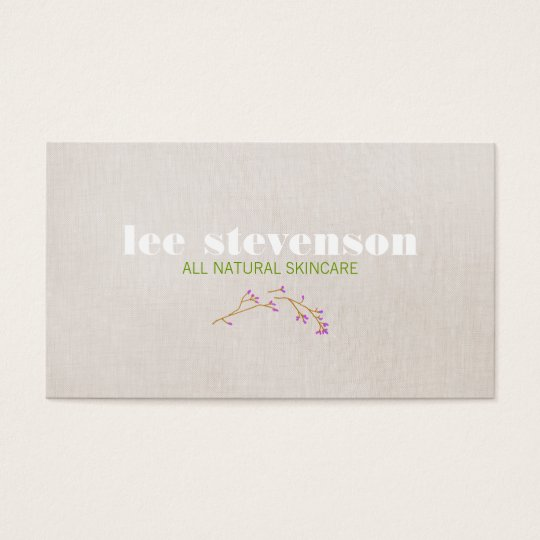 Simple Cosmetology All Natural Beauty Linen Look Business Card