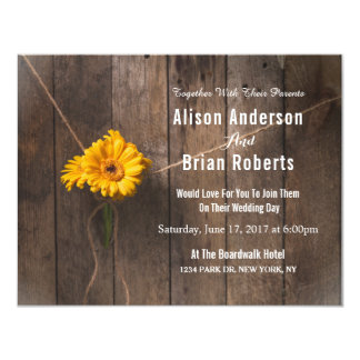Simple Counrty Wood Wedding Invitation