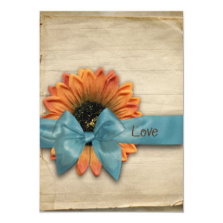 Simple Country Sunflower Wedding Personalized 13 Cm X 18 Cm Invitation Card