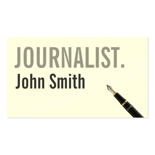 Simple Cream Typography Journalist Business Card